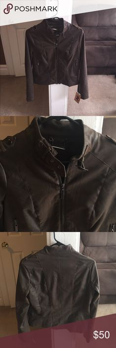 Brown vegan leather jacket NWT BROWN VEGAN LEATHER JACKET! So cute!! Size small Jackets & Coats