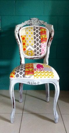 Quirky Patchwork quilted upholstery chair. French Grey milk paint. Chippy finish. Three Sisters Design