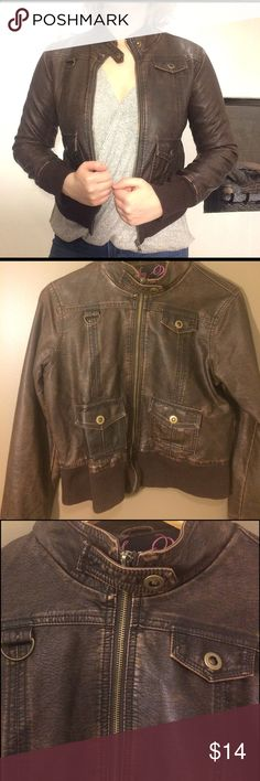 Brown Faux Leather Jacket •Say What? brown faux leather jacket.                   •Runs Small.                                                              •Zips to neck and features a neck clasp.              •Four pockets on front of jacket.                         •Dark brown button snaps. Say What? Jackets & Coats