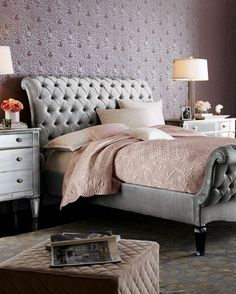 Old Hollywood glamour bedroom. Platinum velvet sleigh bed, from Haute House. Absolutely love this bed style Glam Bedroom, Bedroom Decor, Bedroom Ideas, Bedroom Inspiration, Pretty Bedroom, Master Bedroom, Bedroom Designs, Master Suite, Paris Bedroom