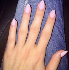 Short, almond, baby pink nails . Absolutely perfect for professionals!