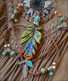 bohemian PEACOCK gypsy Feather NECKLACE COLORFUL long necklace crochet necklace turquoise hippie jewelry made to order. $49.00, via Etsy.