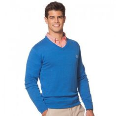 Big & Tall Chaps 12gg V-Neck Sweater, Men's, Size: XXL TALL, Colby Blue