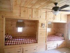 built in bunk beds for cabin | Great 3rd bedroom with two twin beds built into wall.