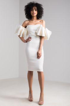 72ce02412858 AKIRA Short Ruffled Sleeve Off Shoulder Midi Scuba Dress in Fuchsia, White