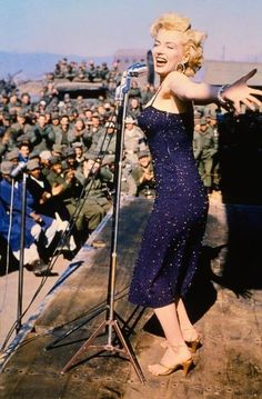 Marilyn entertaining the troops during the Korean War, 1954.