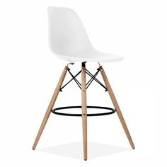 Mmilo Barstools BAR Stool Inspired by Charles & Ray EAMES DSW Replica Eiffel Style Breakfast Bar Stools Chairs -White