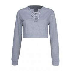 Choies Gray Lace Up Front Crop Sweatshirt (1.690 RUB) ❤ liked on Polyvore featuring tops, hoodies, sweatshirts, grey, lace front sweatshirt, lace-up tops, lace up front top, laced up top and gray crop top