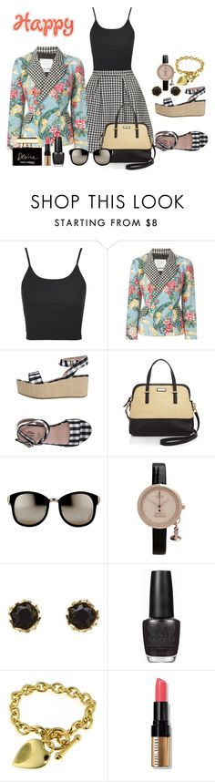 """""""check"""" by penelopepoppins ❤ liked on Polyvore featuring Topshop, Moschino, Blue Les Copains, Kate Spade, Linda Farrow, Vivienne Westwood, Sam Edelman, OPI, Bobbi Brown Cosmetics and Dolce&Gabbana"""
