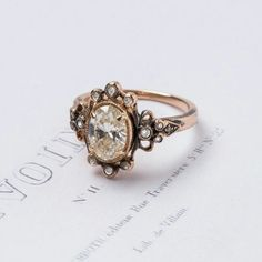 Amazing Vintage Inspired Diamond Engagement Ring Set In Oxidized Rose Gold Claire Pettibone Fine Jewelry Collection From Trumpet Horn