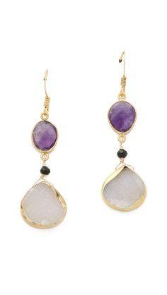 amethyst & white earrings