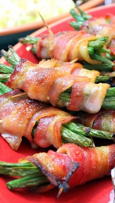 Candy Bacon Wrapped Green Bean Bundles  Wrap Green beans in Bacon, Sprinkle brown sugar over them so the whole thing has a coating of Bacon Fat Caramel and you have something special.  Perfect side for any big Holiday event, some big family gathering or whenever you want praise from our guests... THESE ARE FAST, EASY and WONDERFUL!