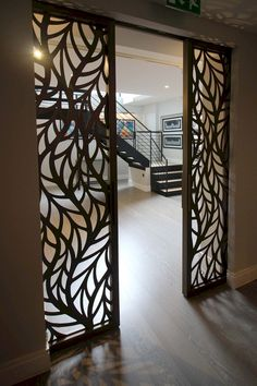 Miles and Lincoln - the UK's leading designer of laser cut screens for architecture and interiors, laser cut panels, balustrades and suspended ceilings Doors Interior, House Design, Decor, Door Design, Cozy Room, Living Room Partition Design, Cool Rooms, Ceiling Design, Glass Room