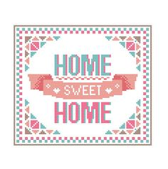 Modern Cross Stitch Pattern HOME Sweet HOME bright, warm and welcoming Pink and green shades Modern Geometric wall art Gift by ZindagiDesigns on Etsy https://www.etsy.com/listing/208876583/modern-cross-stitch-pattern-home-sweet