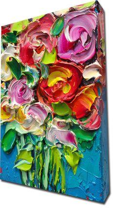 ORIGINAL Oil Painting Roses Art Palette knife Impasto by bsasik