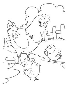 Hen Talking To Her Chicks Coloring Page : Coloring Sky Farm Animal Coloring Pages, Preschool Coloring Pages, Flower Coloring Pages, Coloring Pages For Kids, Coloring Books, Fairy Coloring, Bird Drawings, Easy Drawings, Owl Clip Art