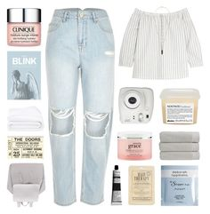 """""""low key no pressure"""" by peachy-clean ❤ liked on Polyvore featuring River Island, Fujifilm, Blink, Davines, Madewell, Christy, Kocostar, Deborah Lippmann, philosophy and Clinique"""