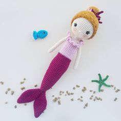 Crochet Mermaid, Crochet Unicorn, Crochet Baby, Unicorns And Mermaids, Mermaid Dolls, Yarn Projects, Crochet Dolls, Kids And Parenting, Baby Dolls