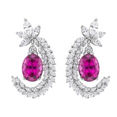 Diamond and Rubelite Earrings in 18K White Gold | Luxify | Luxury Within Reach