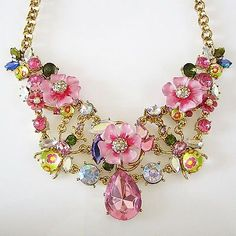 NEW! 2014 BETSEY JOHNSON Jewelry SPRING GLAM Pink Flower Statement Necklace WOW! in Jewelry & Watches, Fashion Jewelry, Necklaces & Pendants   eBay