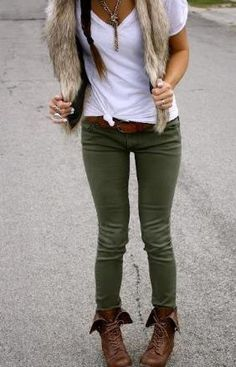 Green pants and brown boots LOVE! Umm, not sure about the hairy vest