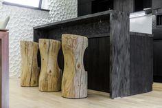"""""""Мятая стена"""" в кухне из гипсовых 3D панелей Stool, Decor, Furniture, Home, Contemporary Interior, Home Decor"""
