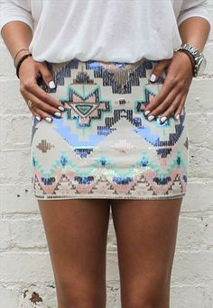 All Sequin Embellished Beaded Aztec Mini Skirt Nude All $38.75 for ashley