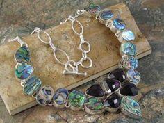 Multi Gemstone Necklace Abalone Amethyst Quartz jewelrygemstone.ecrater.com