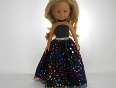 13 inch doll clothes made to fit dolls such as Corolle Les Cheries doll clothes  Black Dot Dress with Choker, 06-1123 by thesewingshed on Etsy