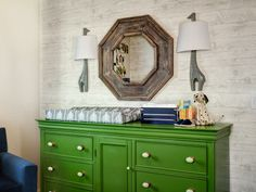 Nursery with bright green changing table | DailyCandy