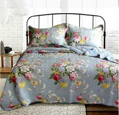 cotton water wash blue flowers green leaves quilting 3pcs set bedspread cushion sham patchwork quilt cover bedding sets discount US $85.00