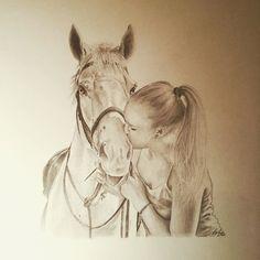 Percy & Liisa #horsedrawing #petportrait #kiss #love #fineart #torontoartist #horsestagram #horse #pencildrawing
