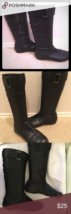 """DKNY Black Leather Flat Moto Type Boots - As Is DKNY black leather moto boots. Size 9. Shaft height about 16.5"""", calf circumference about 14.5"""". Very soft textured leather with wrap-around seaming and molded sole. Cozy red lining and red sole details. Pre-worn and fits wide and comfortable. The left boot zipper has both the pull and attachment broken off; it is a little annoying to pull up, but not hard. Priced accordingly. Dkny Shoes Combat & Moto Boots"""