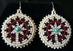 Beaded Navajo wedding basket design to adapt for Christmas ornaments. The opening in the black design needs to face up, though, to be in keeping with Navajo oncology.