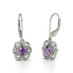 Round Amethyst Sterling Silver Earrings - Knotted Vines Earrings | Gemvara