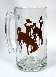 Wyoming Cowboy Joe Beer Mug Hand Painted by ConniesCreations2010, $12.00