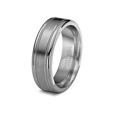 White Cobalt Brushed Center Polished Edge Mens Wedding Band From the Prime Collection by Scott Kay - 7 mm