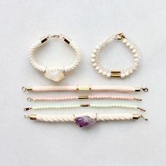 Citrine, amethyst and riverstone bracelets