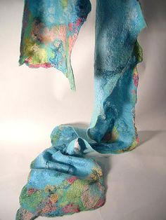 Seascape Aqua Scarf, by Jean Gauger, www.sugarplumoriginals.commade with Merino, silk and other embellishment