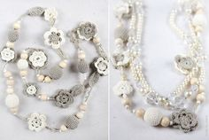 Collar largo y perlas