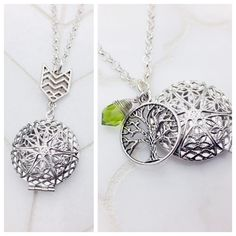 Fun new silver essential oil diffuser necklaces! Chevron and Family Tree. Customizable birthstones available.