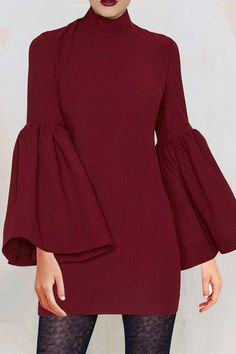 Cut Out Mock Neck Puff Sleeves Bodycon Dress