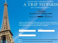Enter the MyHabit.com Trip to Paris & MyHabit Shopping Sweepstakes for a chance to win a trip for two to Paris, France!