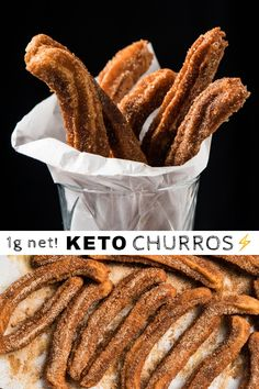 You'll be surprised how ridiculously easy it is to whip up a batch of these grain free and keto churros!) how akin they are to the original version, at only net carbs a pop! Low Carb Sweets, Low Carb Desserts, Low Carb Recipes, Healthy Recipes, Snacks Recipes, Donuts Keto, Keto Cookies, Pain Keto, Comida Keto