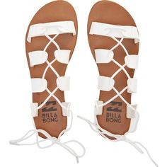 Beach Brigade Sandals (€15) ❤ liked on Polyvore featuring shoes, sandals, flats, white, zapatos, white gladiator sandals, beach sandals, roman sandals, gladiator sandal and greek sandals