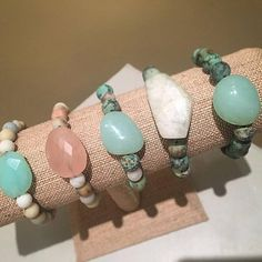 Add a touch of rose quartz or African turquoise to any outfit with this unique stack of bracelets designed with aquamarine and matte aventurine beads. Each stack is carefully put together with perfect color combinations to accent the stones best features. Pair it with jeans and your