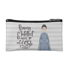 """Outlander:  Claire Rough Sketch Cosmetic Bag """"Bravery & Intellect never go out of style.""""    Officially-licensed fan merchandise.  ©Kimberly Jones for Outlander"""