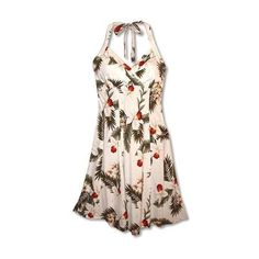 Moon White Napali Hawaiian Dress ($55) ❤ liked on Polyvore featuring dresses, white halter top, v neck halter top, v neck dress, sexy dresses and hawaiian dress