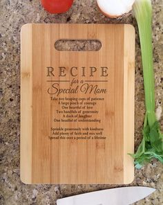 Mothers Gift Personalized Recipe for a Special Mom Custom Cutting Board Gift for Mom Mommy Birthday Personlized Christmas Gift from kids