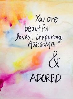 You are Beautiful Original Watercolor Painting Hand Lettered & Unique. Unframed Inspirational Word Art 9x12 w Orange, Yellow, Pink, and Blue...